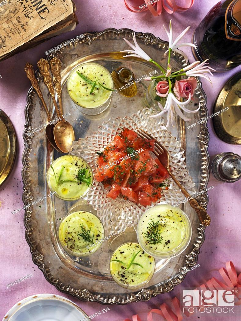 Stock Photo: Avocado soup and salmon for a New Year's Eve party.