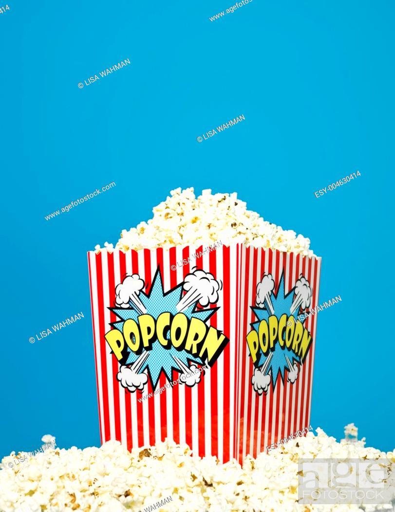 Stock Photo: Basket of Popcorn.