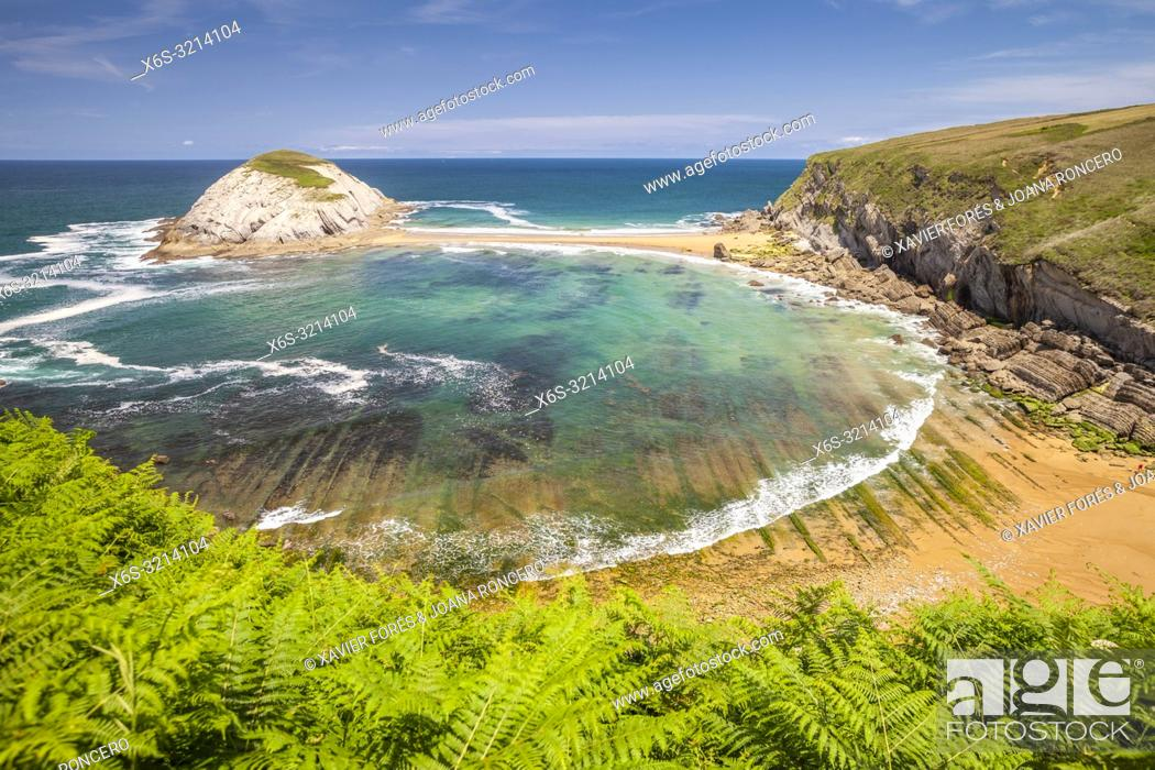 Stock Photo: Covachos beach and Castro Island, Liencres, Cantabria, Spain.