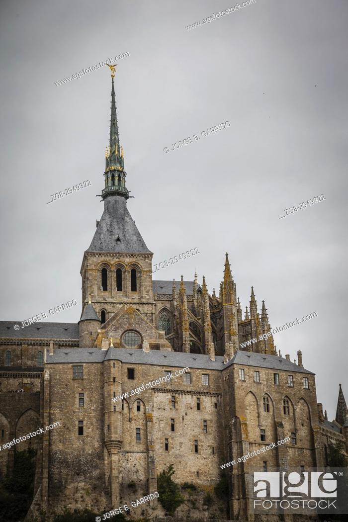 Stock Photo: Mont St Michel world heritage in Normandy, France.