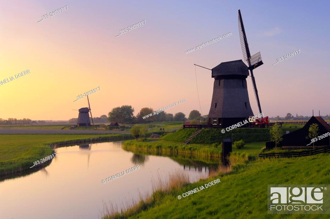 Stock Photo: Traditional Dutch Windmill, Schermerhorn, Holland, Netherlands, Europe.