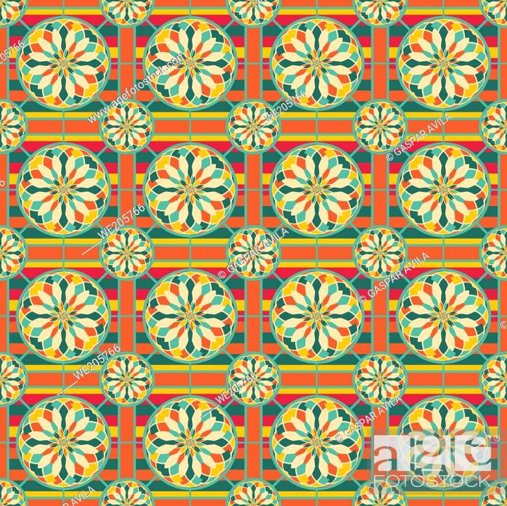 Stock Vector: Eye-catching geometric pattern with complex polygons and saturated colors. Digital art.