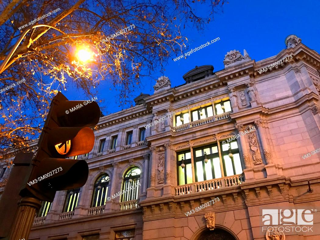 Stock Photo: Facade of Banco de España building at night. Madrid, Spain.