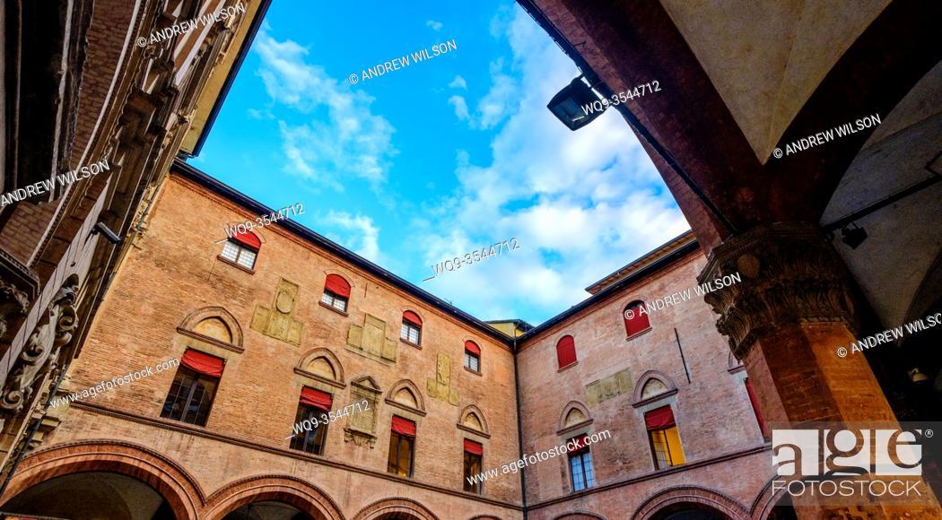 Stock Photo: Biblioteca Salaborsa, Piazza del Nettuno, Bologna, Italy.