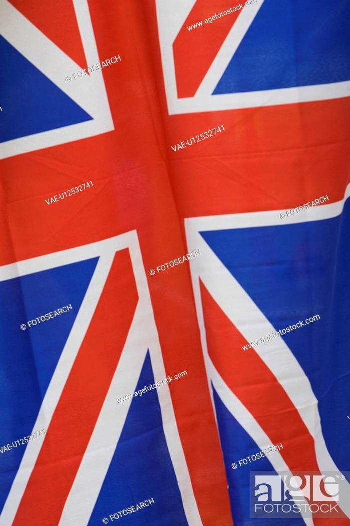 Stock Photo: Blue, British Flag, Close-Up, Extreme Close Up, Flag.