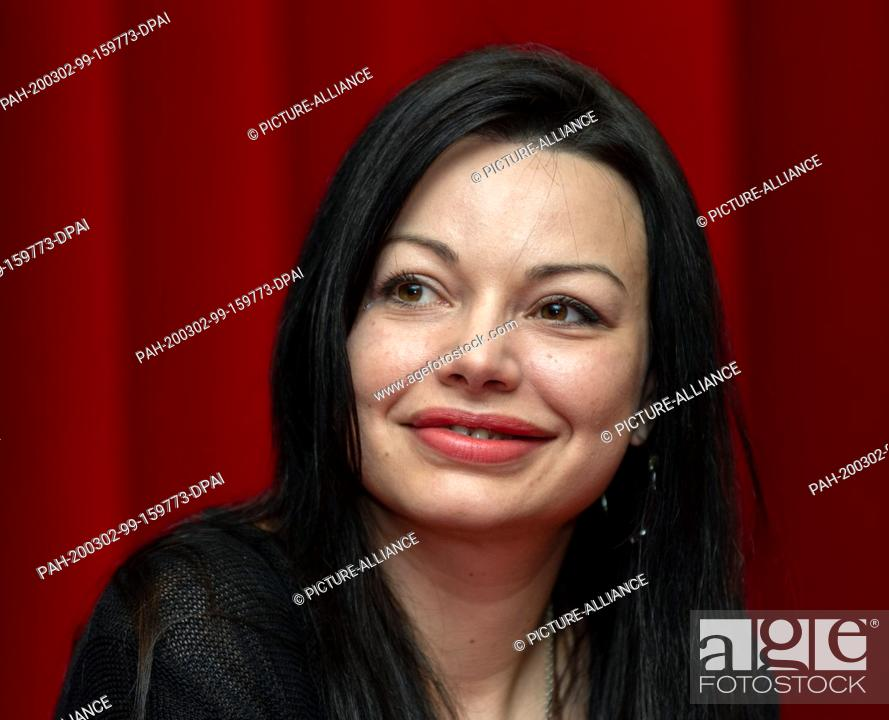 "Stock Photo: 02 March 2020, Saxony, Dresden: Actress Cosma Shiva Hagen sits on the podium at a press event of Comödie Dresden for the German premiere of """"Sternstunden""""."