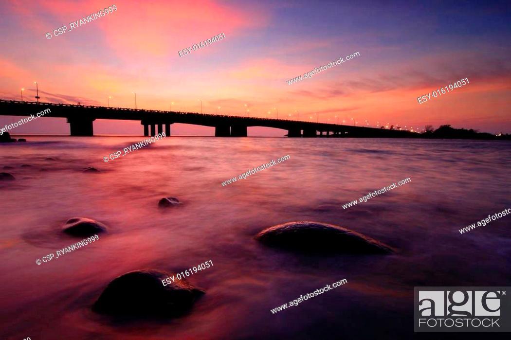 Stock Photo: beautiful sunset with a bridge.