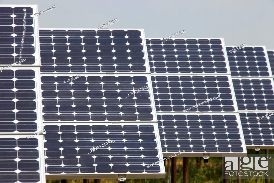 Stock Photo: solar panels, solar power plant, area of vulci, province of viterbo, lazio, italy, europe.