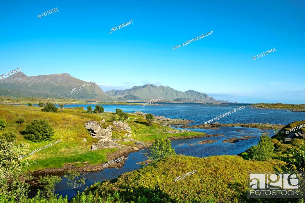 Stock Photo: Bay near Leknes, Vestvagoy, Lofoten, Northern Norway, Norway, Scandinavia, Europe.