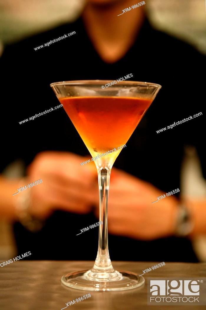 Stock Photo: Cocktail on a bar  Manhattan cocktail.