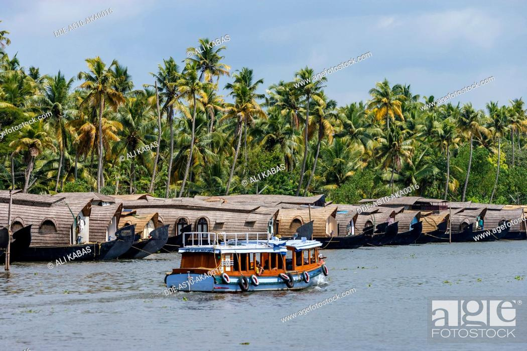 Stock Photo: Cruise boats in Backwaters, Kerala, India.