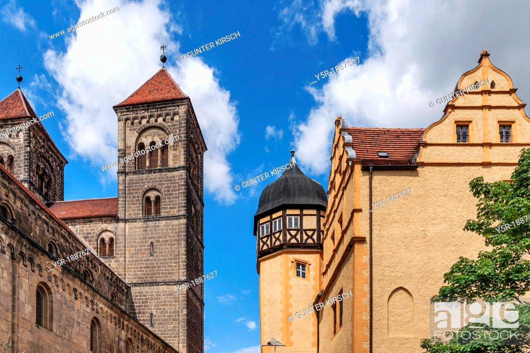 Photo de stock: Castle and Collegiate Church of St Servatius on the Schlossberg, Quedlinburg, Saxony-Anhalt, Germany, Europe, No Property Release available!.
