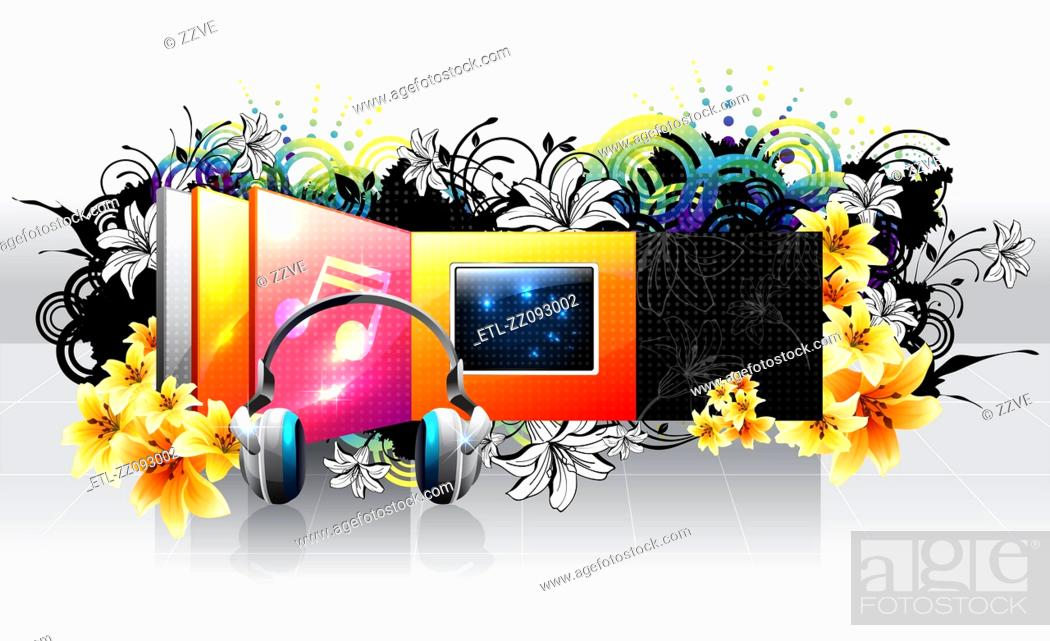 Stock Photo: TV Screen and headphone with flora design.