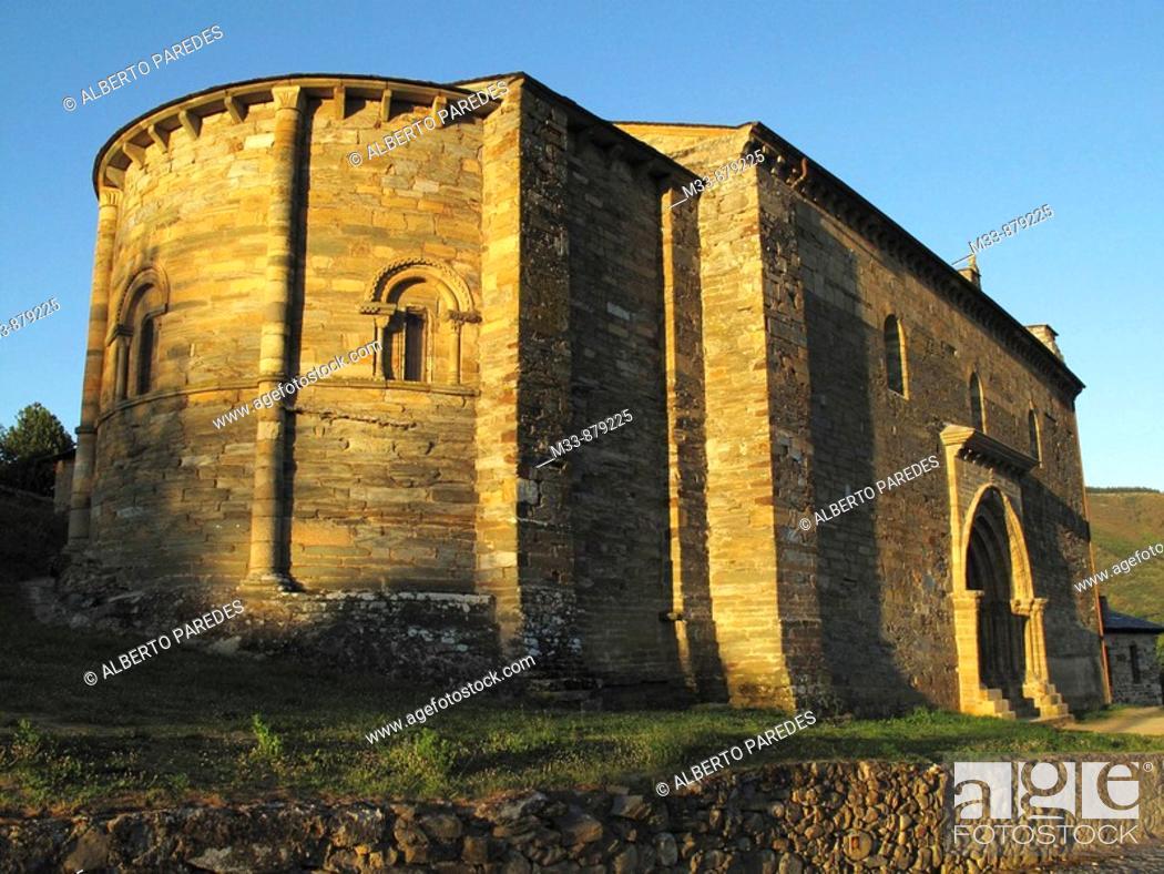 Stock Photo: Church of Santiago with Puerta del Perdon, Villafranca del Bierzo, Way of St James. El Bierzo, Leon province, Castilla-Leon, Spain.