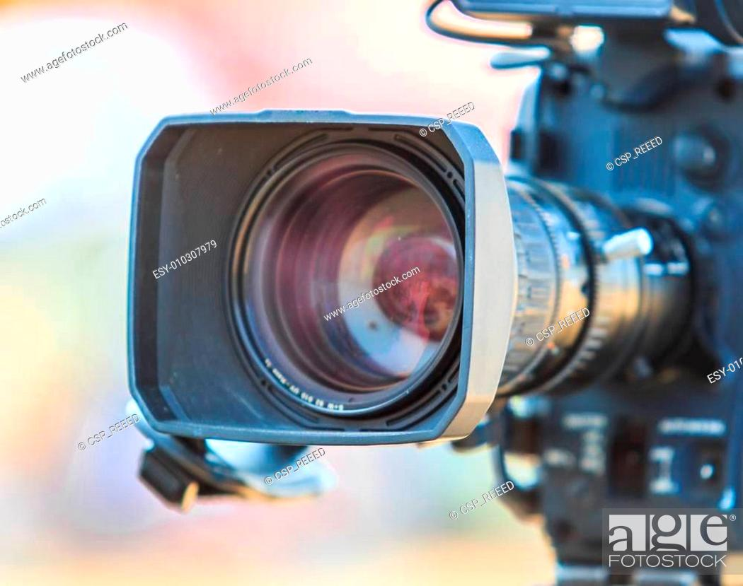 Stock Photo: Camcorder Video camera lens.
