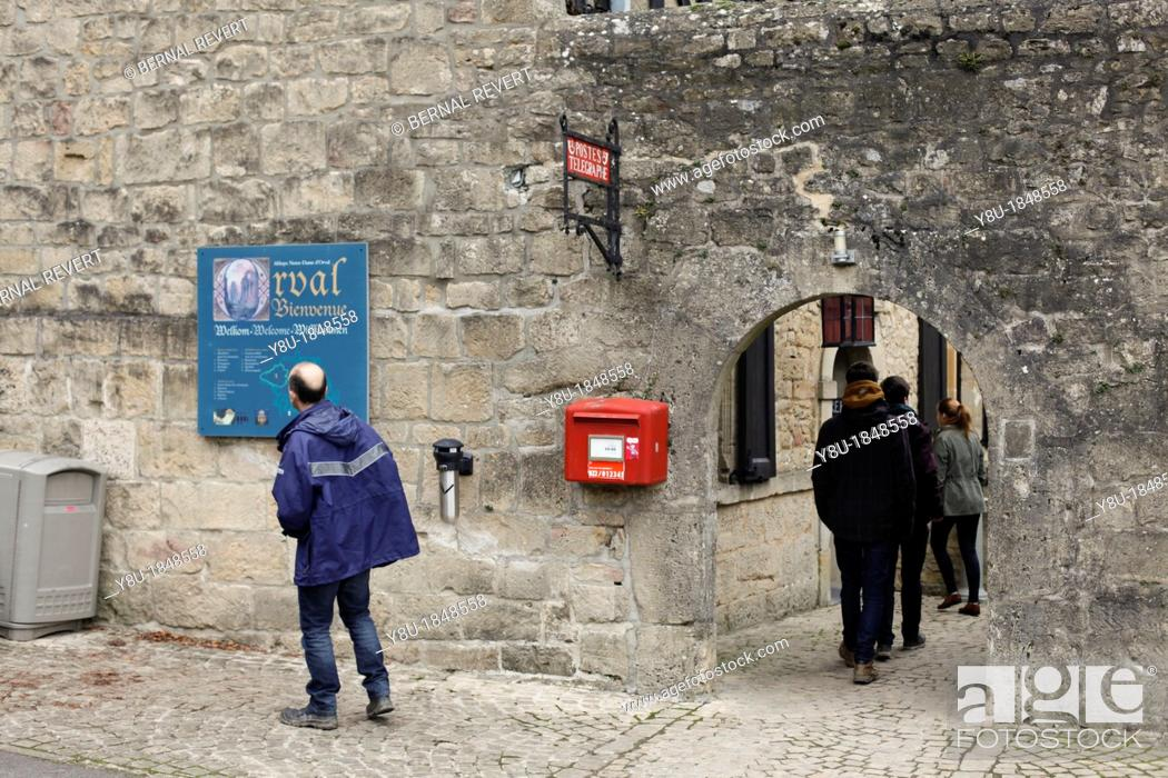 Stock Photo: Tourists at Orval Abbey in Villers-Devant-Orval, Belgium.