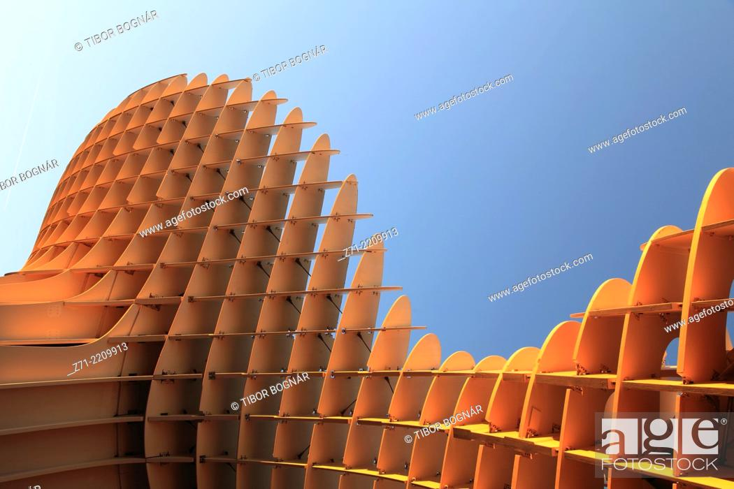 Stock Photo: Spain, Andalusia, Seville, Metropol Parasol, wooden structure, JŸrgen Mayer-Hermann architect,.