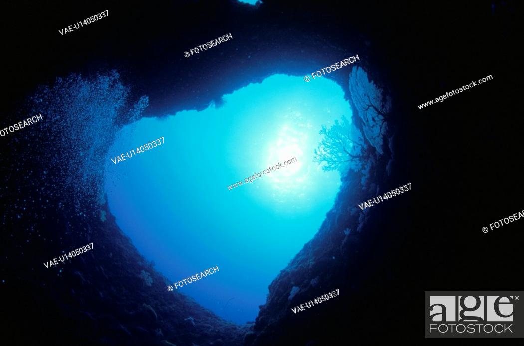Stock Photo: The Underwater Cave With The Heart Shape.