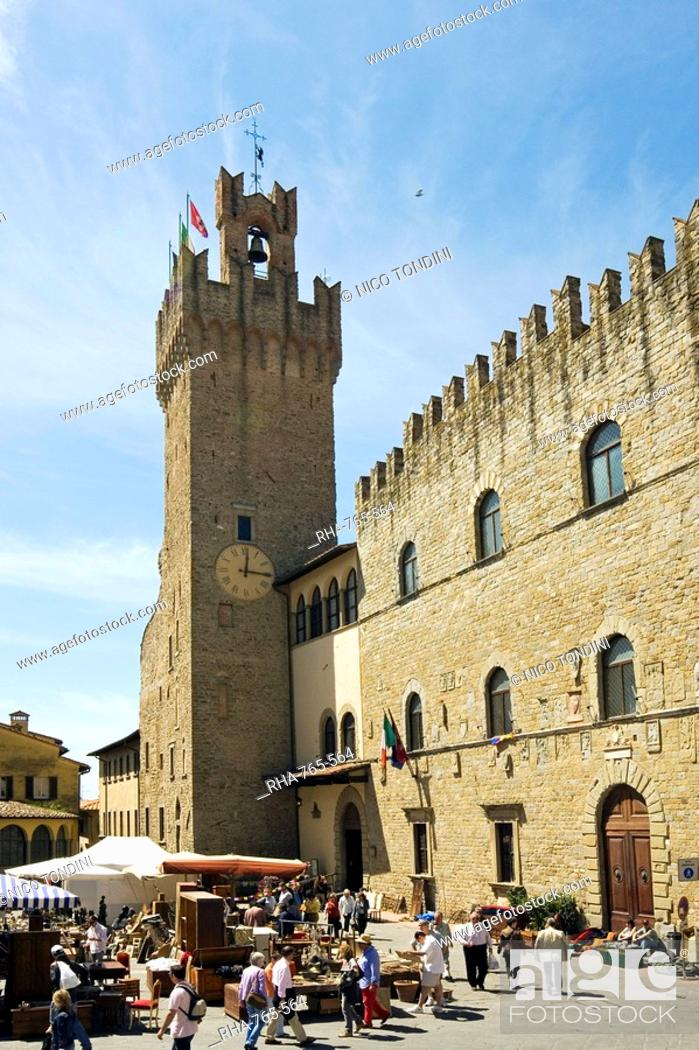 Stock Photo: Piazza della Liberta and Antiquarian Fair, Town Hall Tower, Arezzo, Tuscany, Italy, Europe.