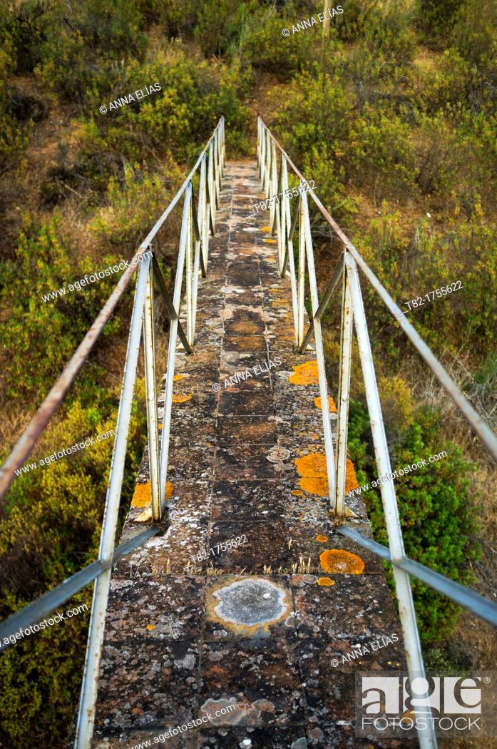 Stock Photo: walkway with iron railings access to Mount, Alentejo, Portugal.