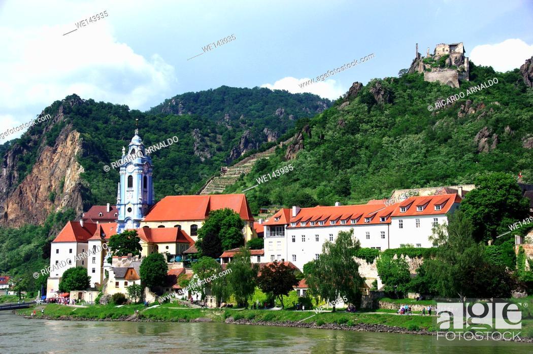 Stock Photo: Durnstein view from the Danube.