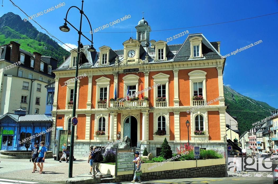 Stock Photo: Hôtel de Ville (Town Hall). Cauterets town, Hautes-Pyrénées department, Occitanie region, France.