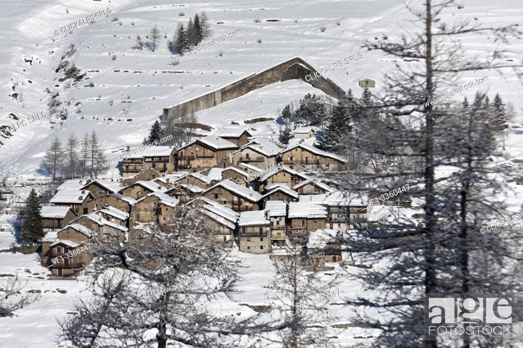 Stock Photo: Orsiera Rocciavre Park, Chisone Valley, Turin, Piedmont, Italy. Winter Orsiera Rocciavre Park, Pequerel village.