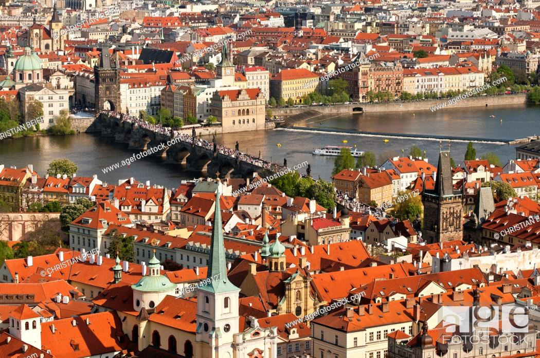 Stock Photo: View over the old town of Prague with the Charles Bridge, UNESCO World Heritage Site, Prague, Bohemia, Czech Republic.