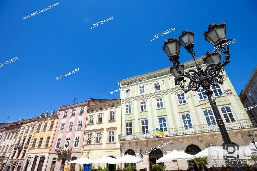 Stock Photo: Traditional architecture lines Rynok (Market) Square, Lviv, Ukraine.
