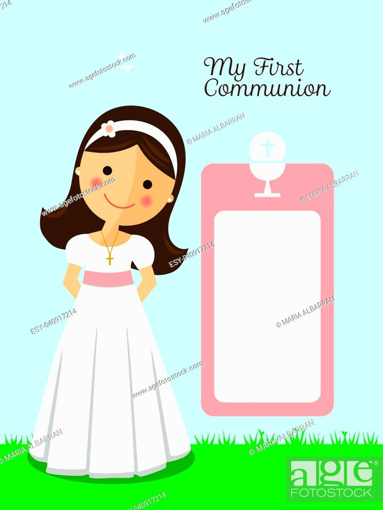 Stock Vector: My first communion invitation with message and blue sky background.