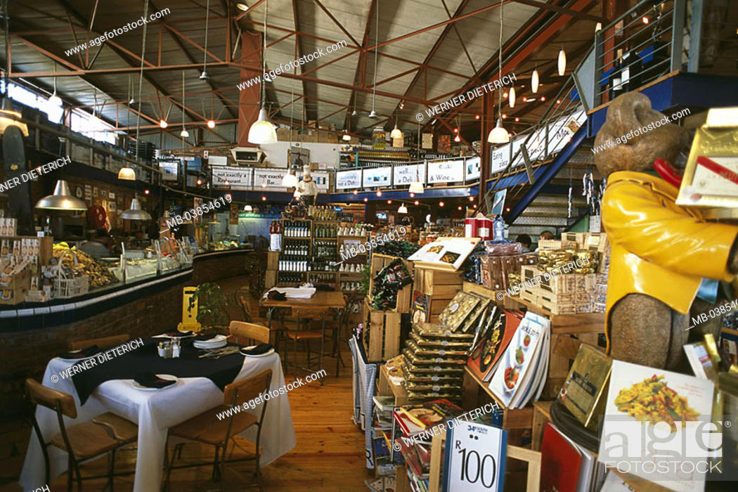 Stock Photo: South Africa, province west-cape Knysna Waterfront delicatessen-stores, restaurant '34° South' Africa cape-province coast economy, retails, trade, sale.