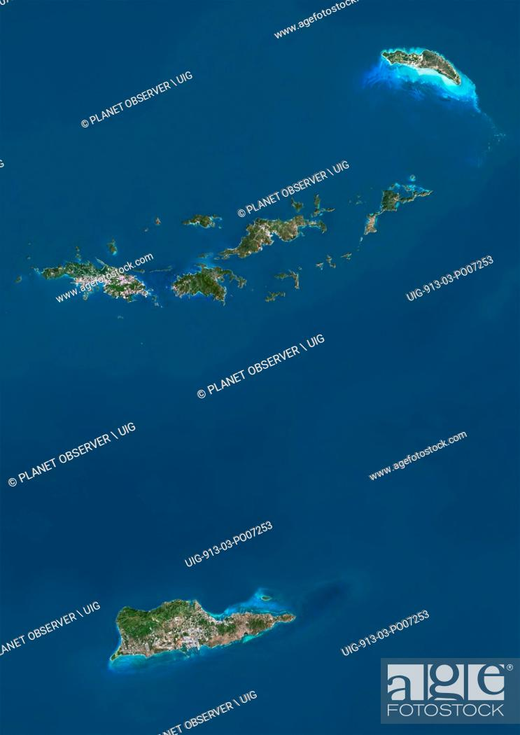 Imagen: Satellite view of British and US Virgin Islands. This image was compiled from data acquired by Landsat satellites.
