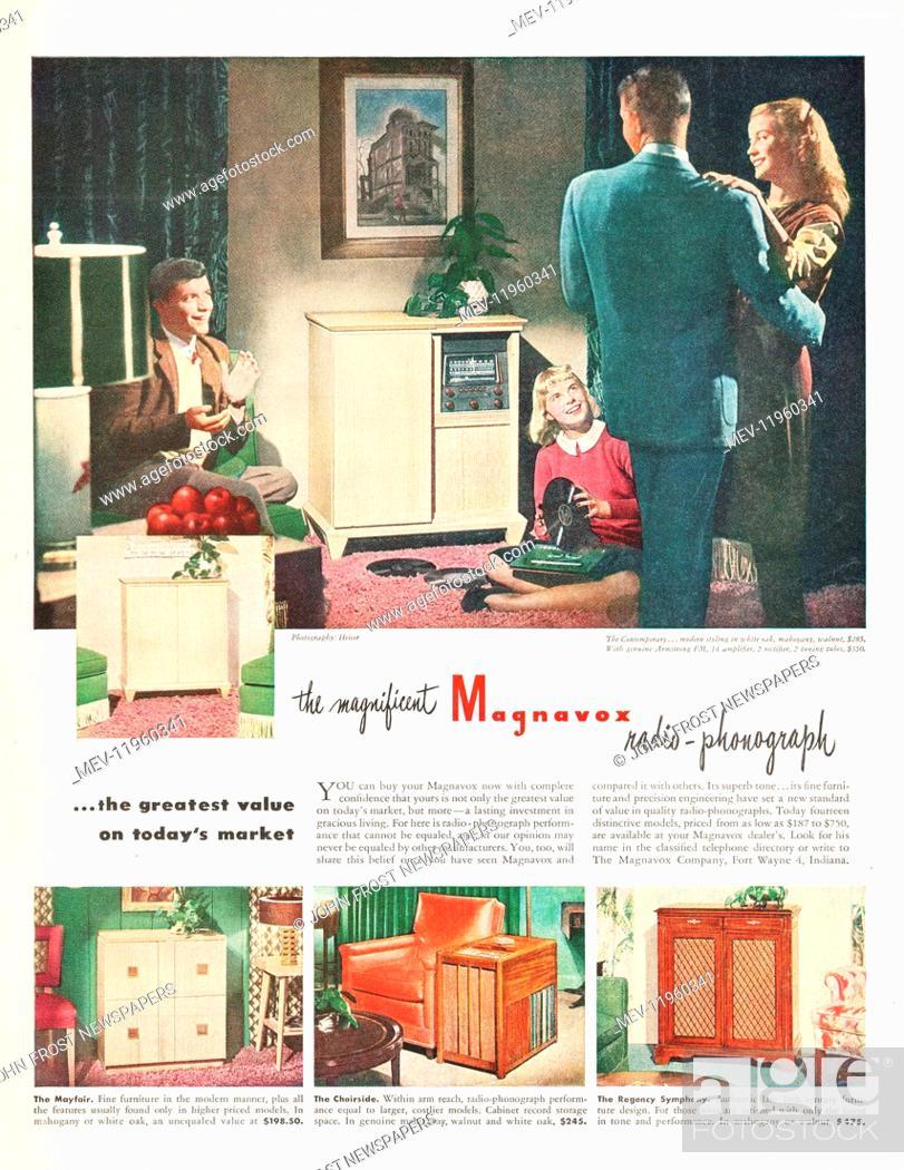 1947 U S  Magazine Magnavox Radio and Record Player Advert, Stock