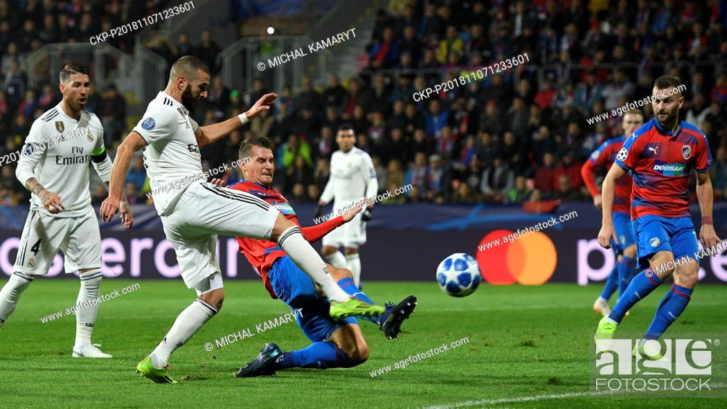 Stock Photo: L-R SERGIO RAMOS, KARIM BENZEMA (both Madrid), LUKAS HEJDA and RADIM REZNIK (both Plzen) in action during the UEFA Champions League match, group stage, group G.