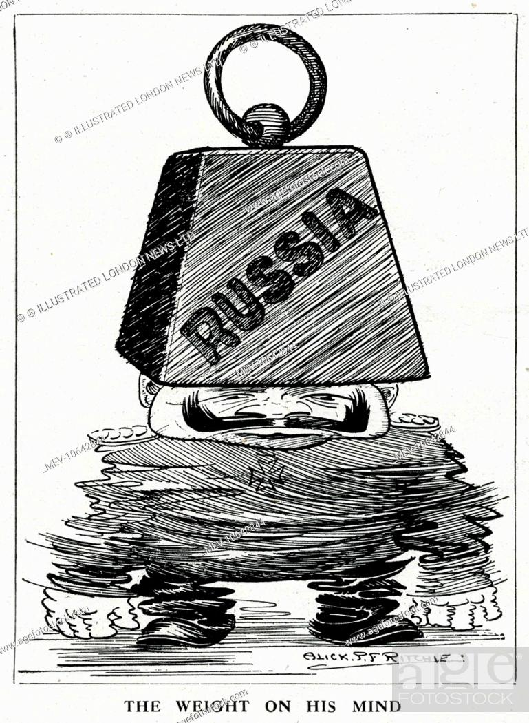Cartoon The Weight On His Mind Showing Kaiser Wilhelm Ii Squashed