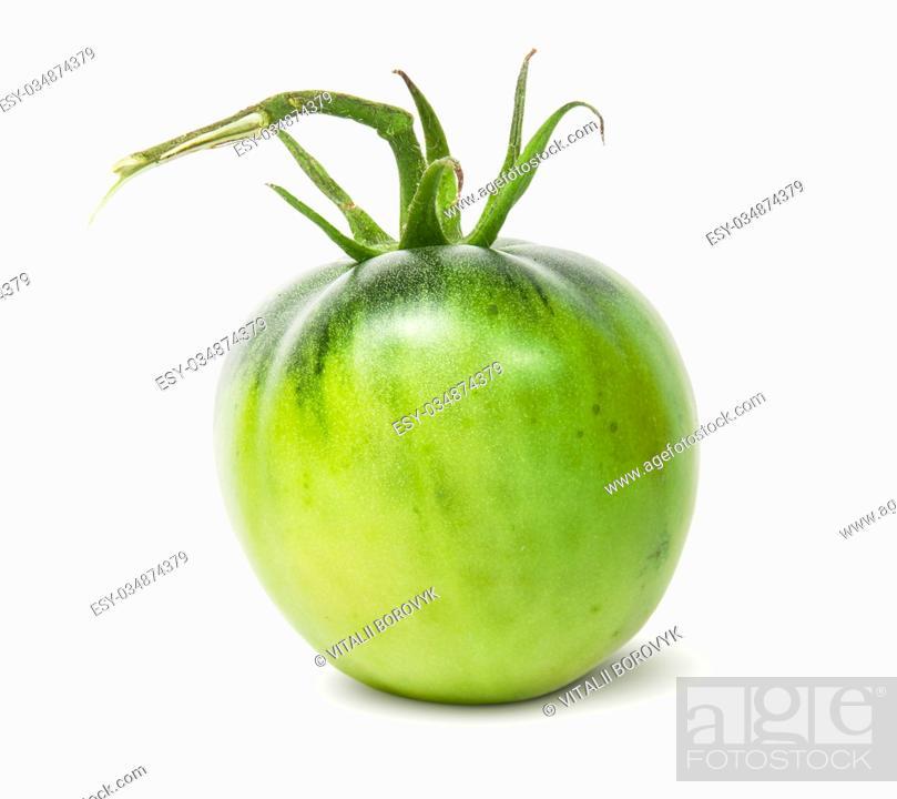 Stock Photo: Single green tomato isolated on white background.