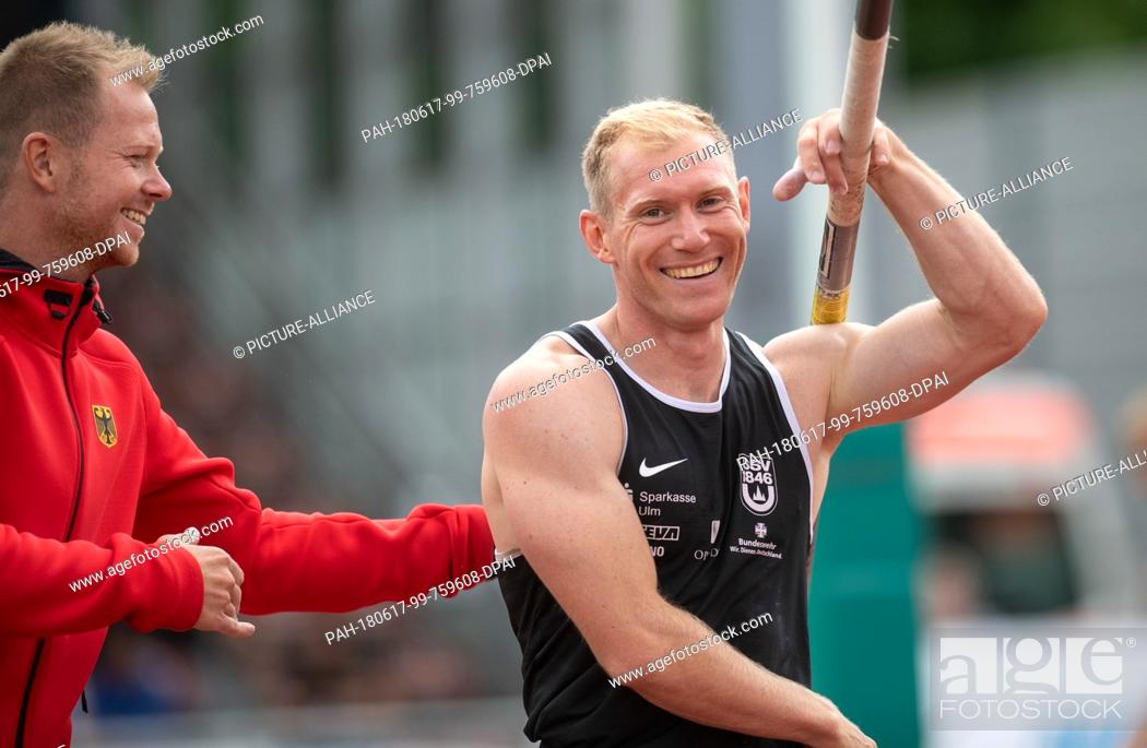 Stock Photo: 17 June 2018, Germany, Ratingen: Athletics: Mehrkampf-Meeting. Arthur Abele of Sweden in action during the pole vault of the decathlon.