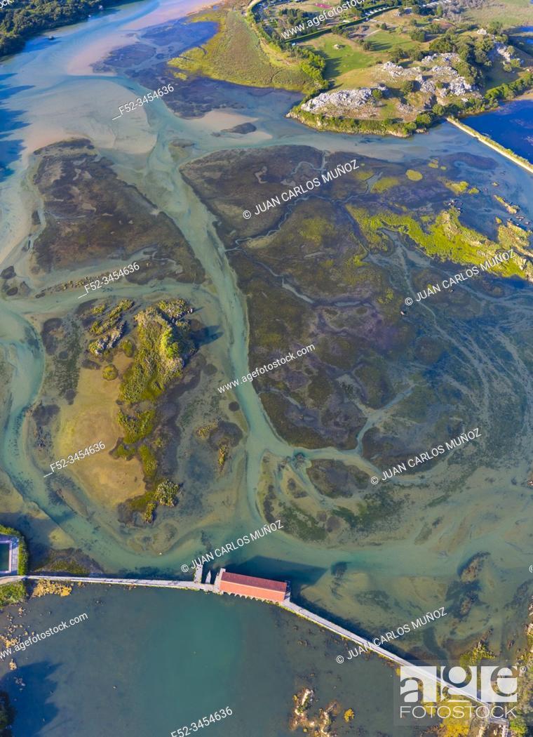 Stock Photo: Aerial View, Marisma de Joyel, Isla, Arnuero Municipality, Marismas de Santoña, Victoria y Joyel Natural Park, Cantabria, Cantabrian Sea, Spain, Europe.