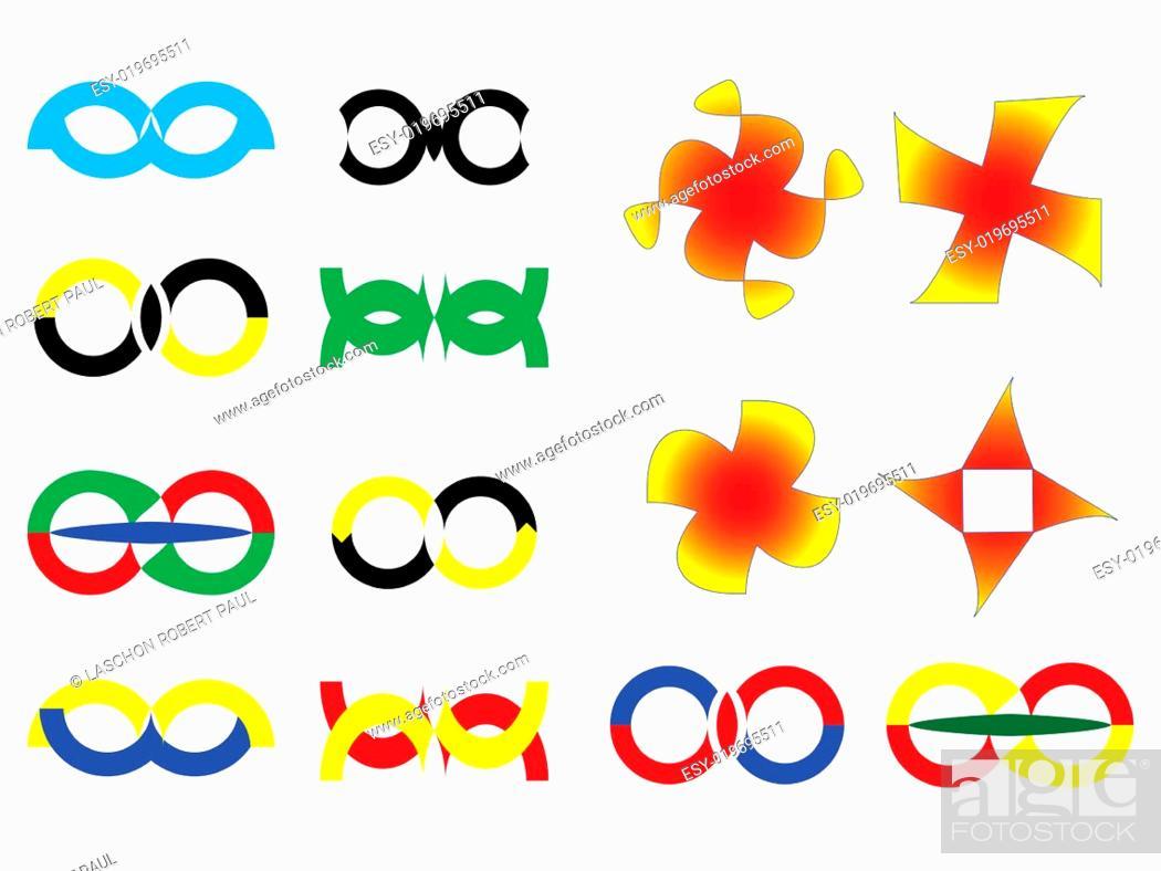Stock Photo: logos collection against white.