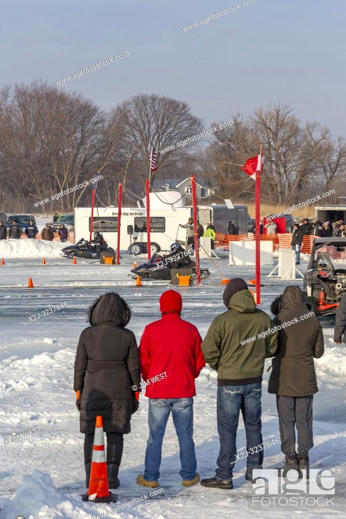 Fair Haven, Michigan - Snowmobile drag racing on Anchor Bay