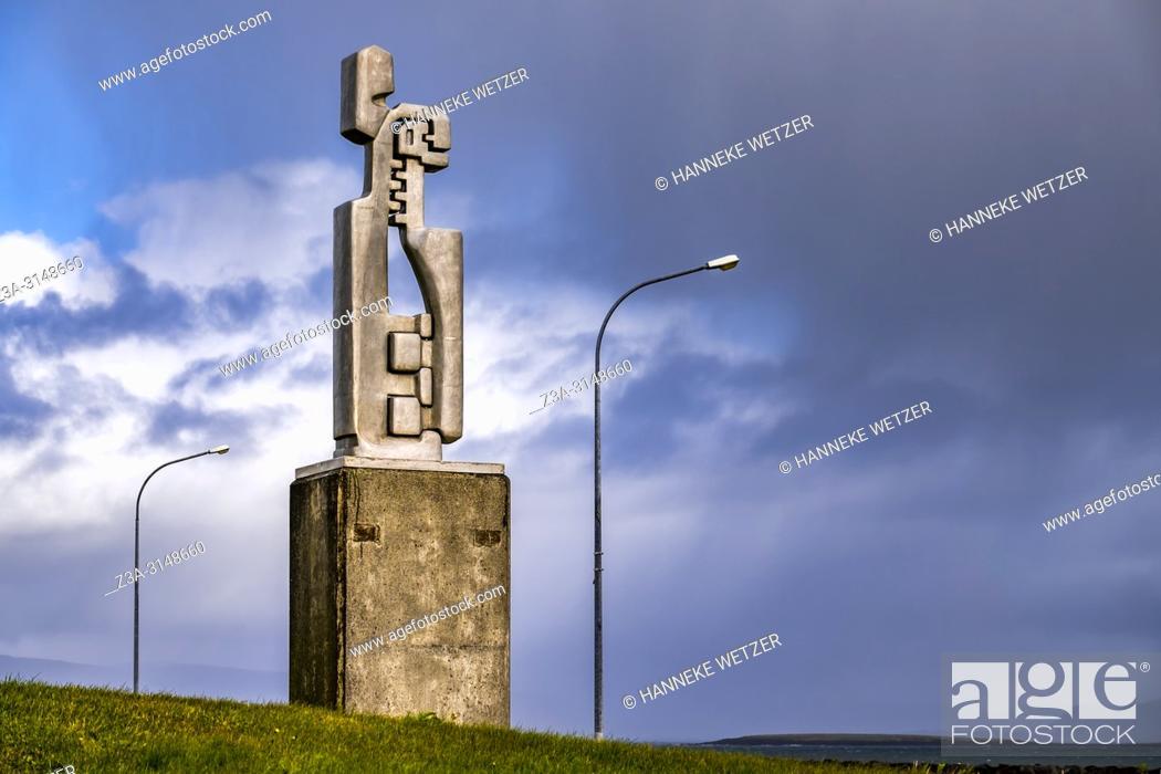 Stock Photo: Hallsteinn Sigurosson's statue 'Madur og Kona' at Seltjarnarnes park in Reykjavik, Iceland.