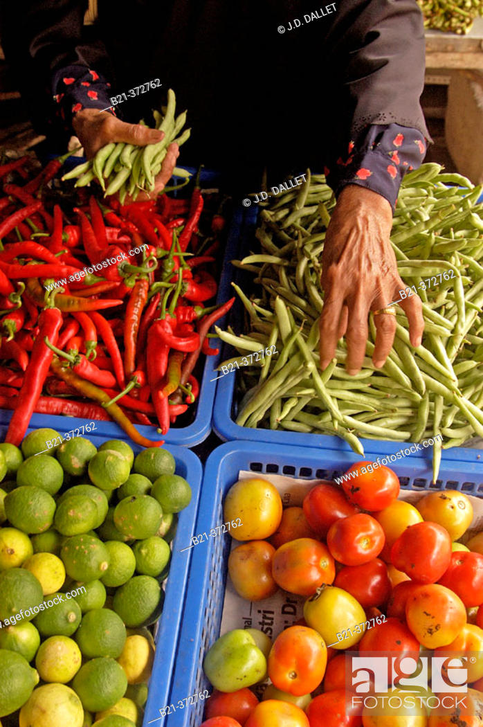 Stock Photo: Malaysia. Langkawi. Vegetable and strong peppers.