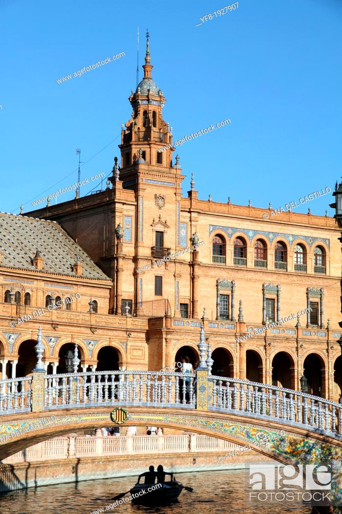 Stock Photo: Spain, Andalucia, Seville, Plaza de Espana,Spain square.