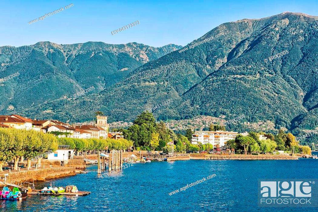 Stock Photo: Ascona, Switzerland - August 23, 2016: Waterfront of the luxurious resort in Ascona on Lake Maggiore in Ticino canton in Switzerland.