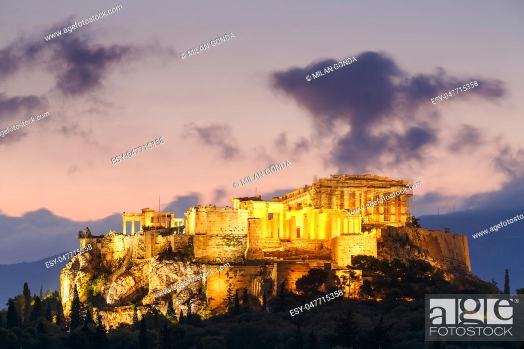 Stock Photo: Morning view of Acropolis from Pnyx in Athens, Greece. .