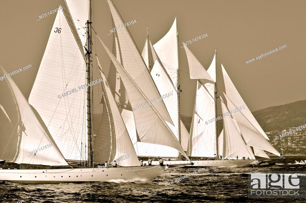 Stock Photo: France, Var 83, Saint-Tropez, Les Voiles de Saint-Tropez meet every year in late September of beautiful classic yachts competing in regattas superb.