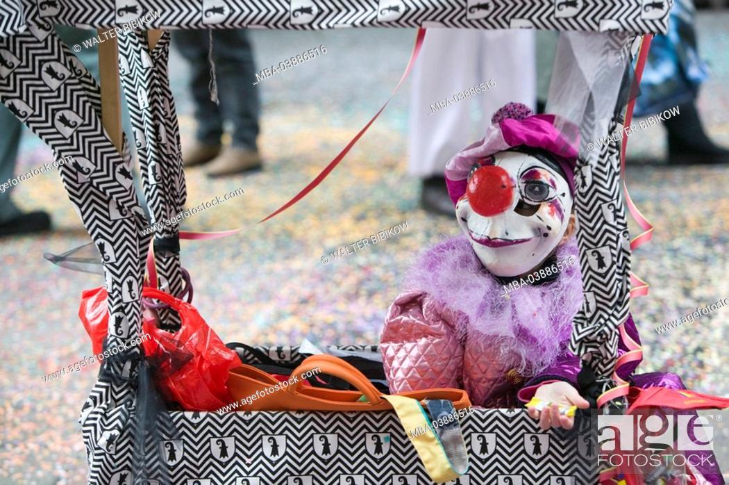 Switzerland Basel Alley Fasnacht Child Dresses Up Clown