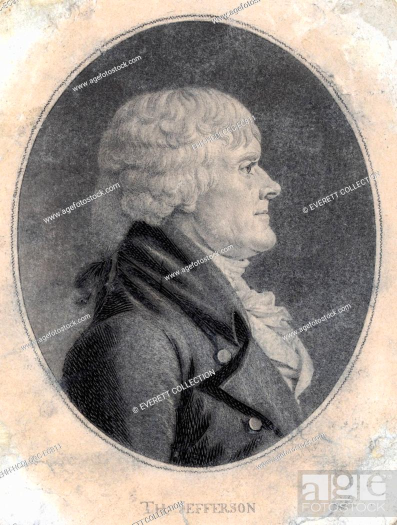 Stock Photo: Thomas Jefferson, third President of the United States. engraving by Saint-Mémin ca. 1804.