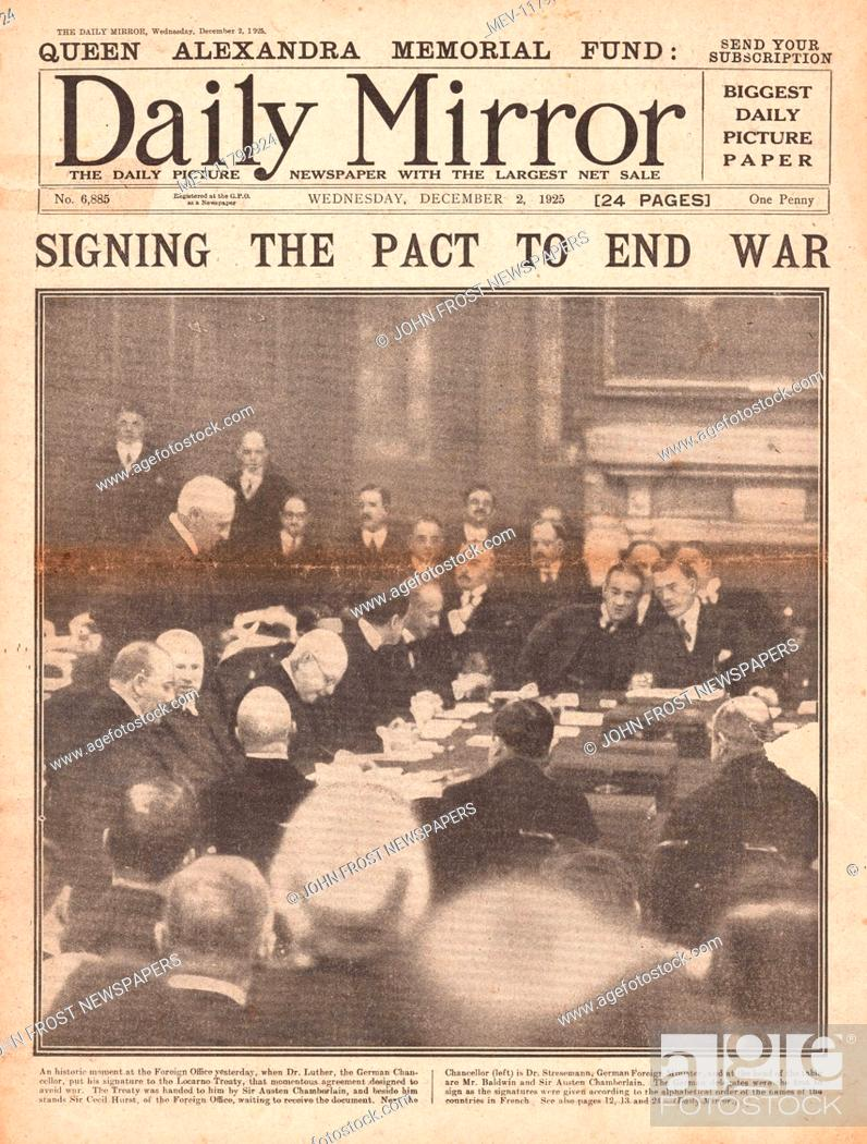 1925 Daily Mirror Front Page Signing Of The Locarno Treaty Stock