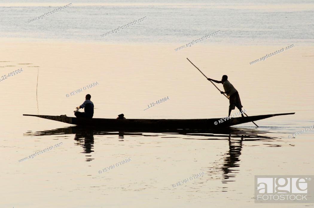 Photo de stock: Sunset on the river Niger, Segou city, Mali, Africa.